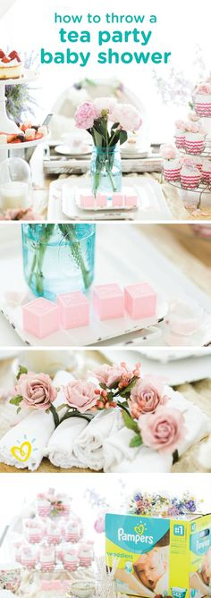 This tea party baby shower is one easy party theme that you can't help but love. Use this Pampers Swaddlers Diaper Cake to stock up on baby supplies and create a cute centerpiece at the same time. Click here to explore more baby shower games, delicious appetizer recipes and DIY party decorations.
