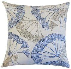 "The Pillow Collection Blue Floral Throw Pillow Zen (18""x18"")"