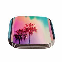 Kess InHouse Nina May 'LA Rainbow' Blue Coasters