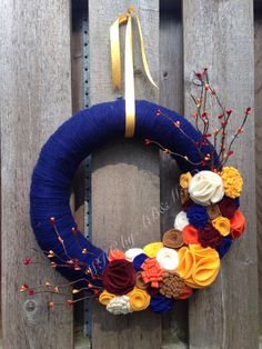 Made-to-Order Navy Fall Yarn Wreath- Navy Blue Yarn and Fall Colors