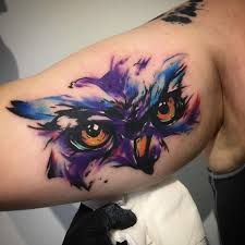 Image result for watercolor owl tattoo