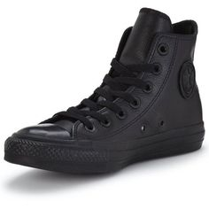 Converse Chuck Taylor All Star Leather Hi-Tops, Black/Black, Size Women - Black/Black - 11 Converse All Star, Outfits With Converse, Converse Chuck Taylor All Star, Converse High, Converse Trainers, Women's Converse Shoes, Custom Converse, White Converse, Converse Leather High Tops