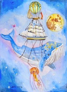 ooak Original Whale Watercolor Nautical Art 5 x 7 Full by asho, $11.00