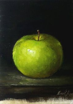 Green Apple - Simple Elegance -Original Oil Painting by Nina R.Aide http://oilpaintingsbynina.blogspot.com