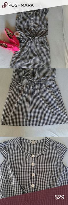 J. Crew romper type dress new size 4 This sweet little blue and white checkered dress is cute as a button. It has never been worn. It has a drawstring, dropped waist,  two pockets in the front and a button closure. Length shoulder to hem is 33.5 inches, skirt lenghth 14 inches ( it is a dropped waist though). 100% cotton J. Crew Dresses