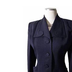 Vintage 1940s 1950s Hourglass Jacket  Navy Blue by Catbooks1940s, $195.00