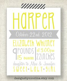 THE HARPER  8 x 10 Custom Designed Nursery by designsbynicolina, $18.50