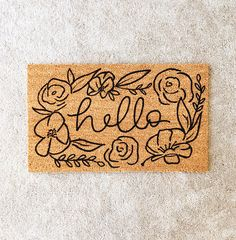 hello welcome mat hand painted custom doormat cute