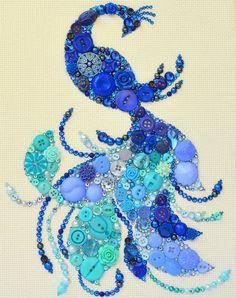 Button Art Bird of Paradise, Blue Bird Home Decor, Blue Fire Bird Wall Hanging…