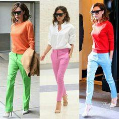 Work Fashion, Fashion Pants, Daily Fashion, Fashion Outfits, Womens Fashion, Victoria Beckham Outfits, Victoria Beckham Style, Vic Beckham, Colored Pants Outfits