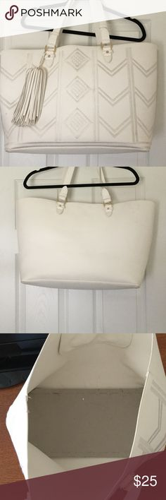 White Tribal Tote Large purse, leather like with tassels. Few stains, will have cleaned Bags Totes
