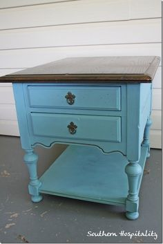 Chalk paint on outdated hard rock maple ethan allen end table.  I know a few people who would put you behind bars for this, but I love it.