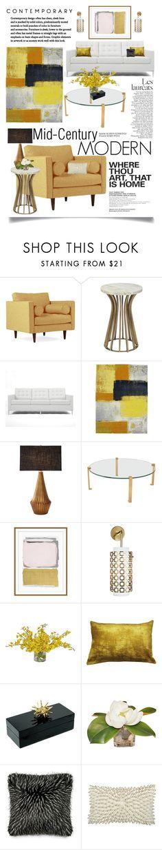 """Mid-Century Modern Interior Design"" by ittie-kittie on Polyvore featuring interior, interiors, interior design, home, home decor, interior decorating, Joybird, Palecek, Rove Concepts and Global Views"