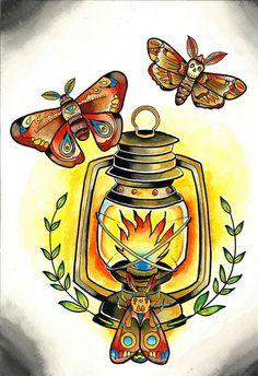 Traditional Tattoo Moth Lantern