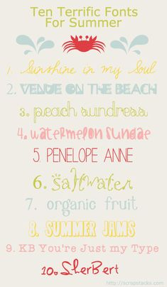 fonts for summer graphic
