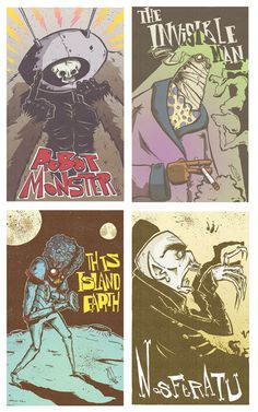 Classic Horror Mini Print Set from Lickyourelbow Film Fantastic, Horror, Action, Mini, Classic, Prints, Art, Derby, Art Background