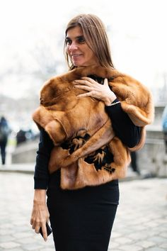 Carine Roitfeld and her gorgeous gillet.