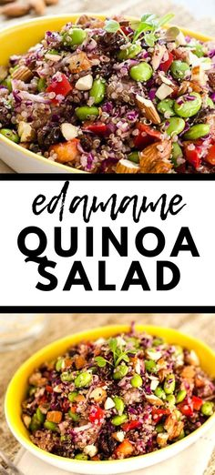 This Edamame Quinoa Salad is a delicious vegan salad that even meat-eaters will find hearty enough for a meal! It is a great make-ahead lunch for the busy work week. Quinoa Salad recipes don't get any better than this! #quinoasaladrecipes #quinoa