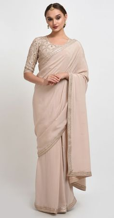 A Global Luxury Design House reinterpreting Indian heritage threads for the modern, discerning consumer Indian Dresses, Indian Outfits, Indian Clothes, Gota Patti Saree, Eastern Dresses, Crepe Saree, Stylish Sarees, Pink Saree, Gorgeous Fabrics