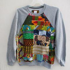 African Print Sweatshirt Wax Print Sweatshirt Ankara by Shipella Ankara Styles For Men, African Fashion Ankara, Fabric Combinations, African Attire, Printed Sweatshirts, Dyi, Creative Ideas, Lana, Tee Shirt