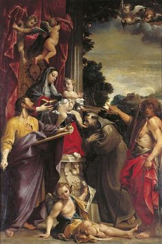 theraccolta: Madonna Enthroned con los SS.  Mateo, Francisco y Juan el Bautista - Annibale Carracci (1560-1609)