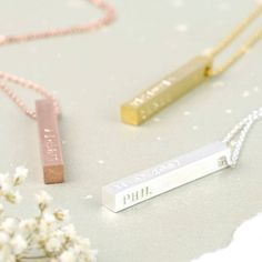 Personalised bar necklace, from the Lisa Angel Jewellery Collection.  The bar is personalised with four names or words of your choice (up to 15 characters on each side).