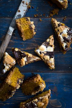 pumpkin s'mores bars. These are thick, cake-like pumpkin blondies topped with all of the toasted, melty s'mores toppings you could ask for.