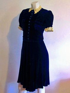 Dress / Silk Velvet Dress / Schiffli by AntiqueGraces 1930s Fashion, Vintage Fashion, The Only Exception, 1930s Dress, Lace Collar, Hot Outfits, Girl Costumes, Couture, Dream Dress