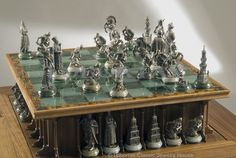 "Chess Set ""The March on Constantinople"" :: Lobortas' version has synchronized electrical and mechanical dual lifting systems for the chessboard, with arches for the figures placed underneath."