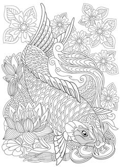 Stock vector of 'Zentangle stylized cartoon koi carp, isolated on white background. Hand drawn sketch for adult antistress coloring page, T-shirt emblem, logo or tattoo with doodle, zentangle, floral design elements.'