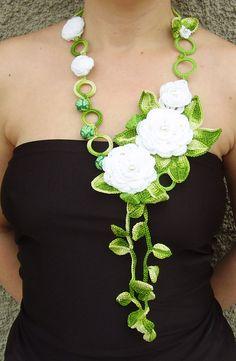 Flores blancas collar joyas de Crochet blanco color de