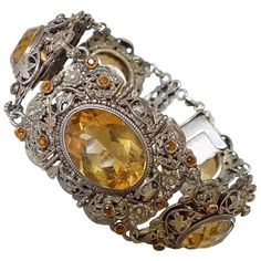 Antique Austro Hungarian Citrine Silver split Pearl bracelet | From a unique collection of vintage cuff bracelets at https://www.1stdibs.com/jewelry/bracelets/cuff-bracelets/