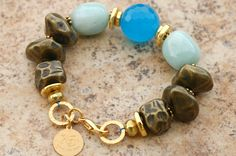 Goddess of the Sea Bracelet: Faceted Blue Quartz, Amazonite, Bronze Nugget and Gold Statement Bracelet