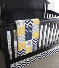 Custom Crib bedding Yellow Navy Blue and by GiggleSixBabyBlanket, $255.00