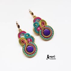 Dogo-Fogo-Soutache boucles d'oreilles, Soutache orecchini, Soutache boucles d'oreilles, style Boho, Boho I Love Jewelry, Jewelry Art, Soutache Tutorial, Imitation Jewelry, Soutache Jewelry, Fabric Jewelry, Beading Tutorials, Beaded Embroidery, Beaded Earrings