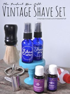 DIY Vintage Shaving Set for Men with recipes for pre shave and after shave!