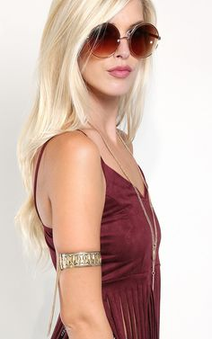 Tribal arm cuff, great accent for a boho outfit. | MakeMeChic.com