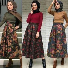 What beautiful skirts Modern Hijab Fashion, Muslim Fashion, Modest Fashion, Skirt Fashion, Fashion Outfits, Modest Dresses, Modest Outfits, Oufits Casual, Casual Hijab Outfit