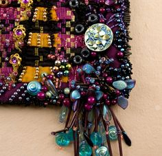 """Bugle beads used on the edge treatment and the tassel of the art quilt, """"The Moon Rises Over Thundercloud"""""""