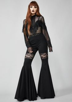 Dame Be Damned Bell Bottoms Bell Bottom Pants, Bell Bottoms, Hot Goth Girls, Future Clothes, Romper Outfit, Denim Flares, Gothic Fashion, Rock Fashion, Women's Fashion
