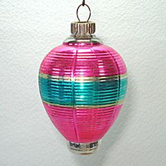 1930s Shiny Brite Pink Green Lantern Glass Christmas Ornament