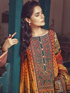 5f4f0d03af Orange unstitched pret wear dress by Eden Robe Winter Collection  2019 springcollection  spring
