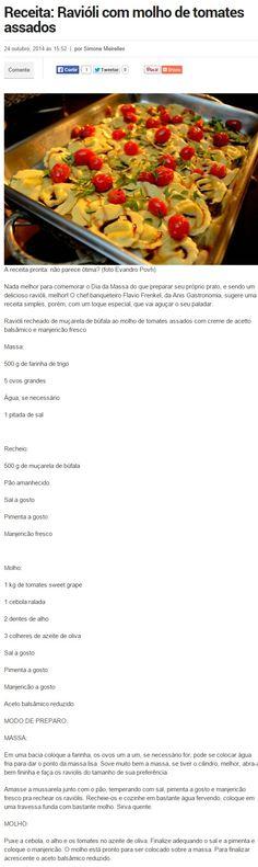 Bem Paraná Online | Comer e curtir - 24/10/2014 Ravióli com molho de tomates assados