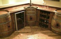 Wine barrel bar and built in basin