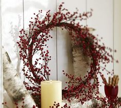 Pottery Barn faux red berry wreath - $59.50