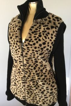 Rocker Chick Faux Fur Leopard Print Top Shop Jacket Glam Sexy Diva Fall Size 2 #TopShop #FauxFurJacket