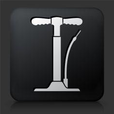 Black Square Button with Bike Pump Icon vector art illustration