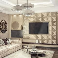 Гостиная с этническими акцентами. #smprojectdesign #project #design #decoration #livingroom #Vray #3dsmax #pattern #color #stuco #panel #light #lounge #classic