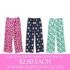 Girl's Holiday Plush Sleep Pants $2.50 Each  Click on the link below to find out more about this deals.  Check out http://www.bighappysavings.com to find more money saving deals  #BigHappySavings, #CouponCommunity, #KidDeals, #OnlineDeals
