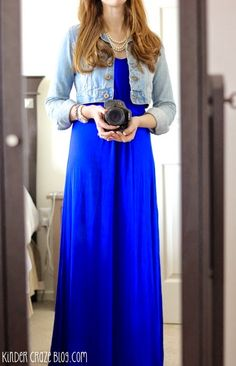 gorgeous blue maxi dress with denim and pearls #StitchFix love the bright blue! The jacket is not me at all.